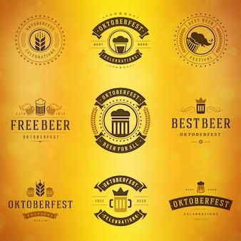 Conjunto de rótulos, emblemas e logotipos de cerveja festival oktoberfest