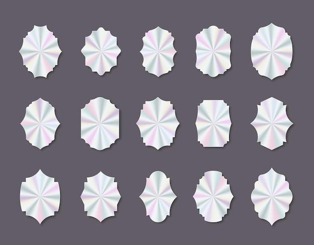 Conjunto de rótulos geométricos de holograma vetorial ilustração plana elemento vetorial para garantia de produto