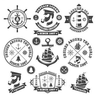 Conjunto de rótulos náuticos vintage, ícones e elementos de design