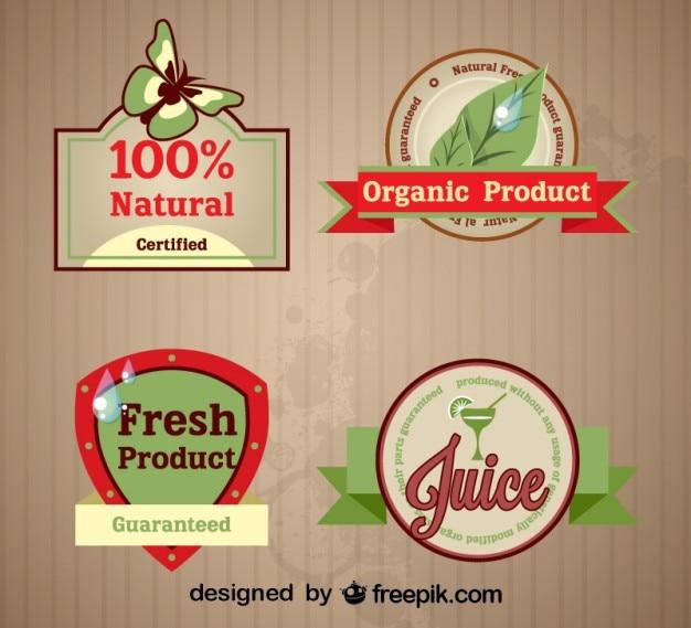 Conjunto de rótulos orgânicos frescos