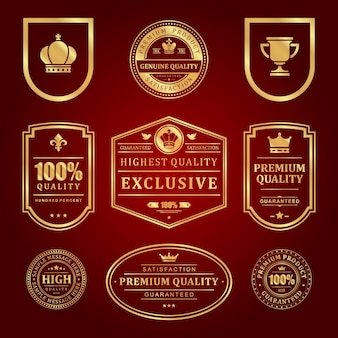 Conjunto de rótulos premium de molduras douradas. vendas de qualidade do vintage e decoração elegante superfície vermelha. marca da coroa e do copo com certificado de qualidade de elite.