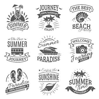 Conjunto de rótulos pretos de férias de verão