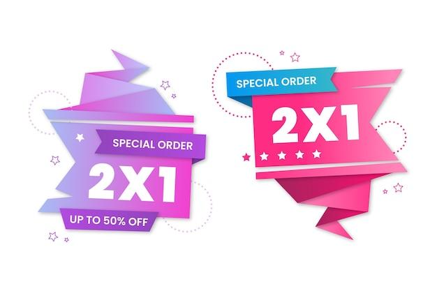 Conjunto de rótulos promocionais de oferta especial