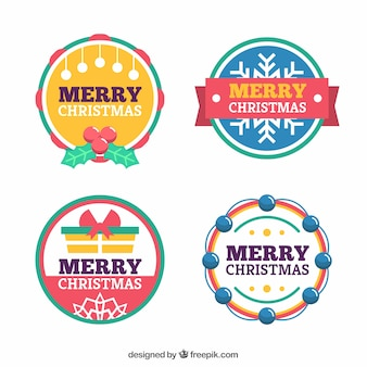 Conjunto de rótulos redondos de um feliz natal