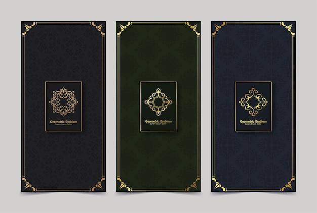 Conjunto de rótulos retrô de luxo com logotipo caligráfico. coleção de monogramas antigos.