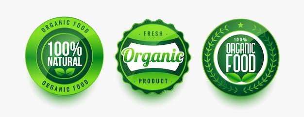 Conjunto de rótulos verdes de alimentos orgânicos frescos