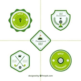 Conjunto de rótulos verdes de golfe