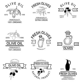 Conjunto de rótulos vintage de azeite