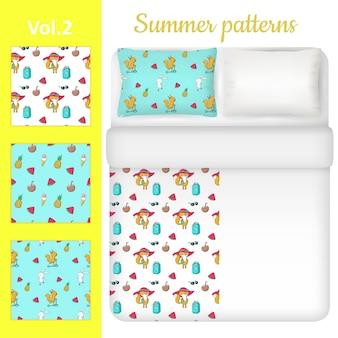 Conjunto de roupa de cama em branco e verão branco