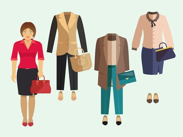 Conjunto de roupa de mulher de negócios
