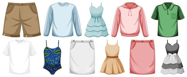 Conjunto de roupa simulada