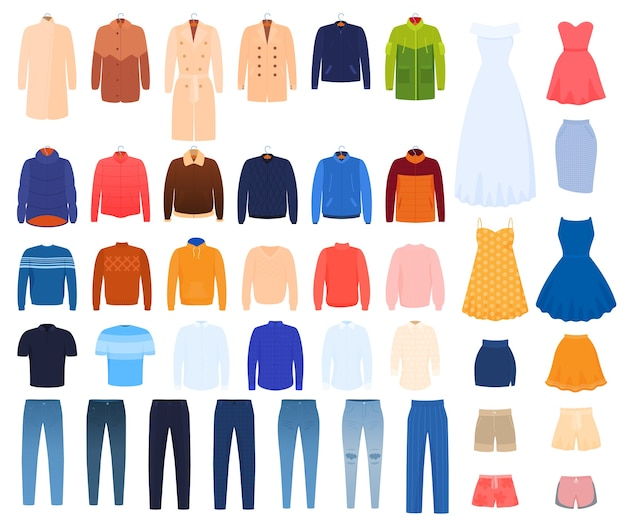 Conjunto de roupas. casacos masculinos e femininos. jaquetas, capas de chuva, suéteres, camisas, camisetas, jeans, calças, shorts, vestidos.