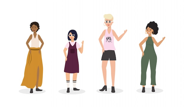 Conjunto de roupas casuais de meninas e penteado