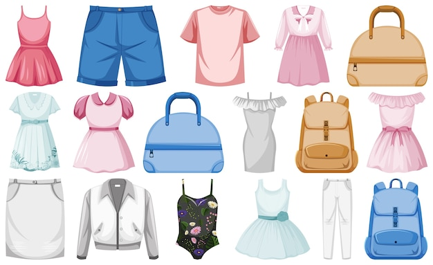 Conjunto de roupas da moda