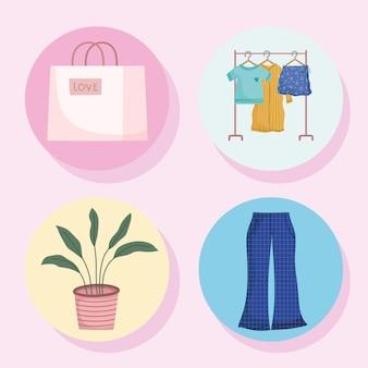 Conjunto de roupas de compras
