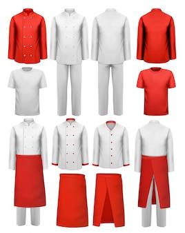 Conjunto de roupas de cozinheiro - aventais, uniformes.