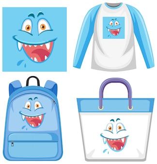 Conjunto de roupas de expressão facial de monstro
