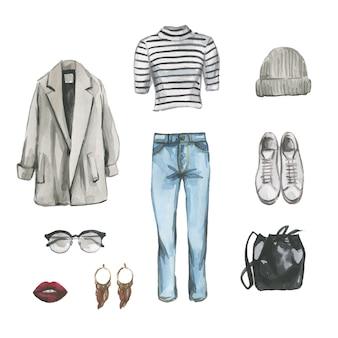 Conjunto de roupas de grife hipster, sapatos e bolsa para mulher. ilustração em aquarela de roupa casual. mão desenhada pintura de olhar feminino de estilo de rua. coleção de guarda-roupas