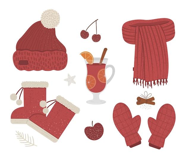 Conjunto de roupas de inverno de cor vermelha. coleção de itens de vestuário de vetor para o tempo frio. ilustração plana de suéter quente tricotado, protetores de ouvido, luvas, botas, bebida quente e especiarias.
