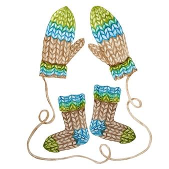 Conjunto de roupas de lã de inverno de malha pintada à mão em aquarela. luva, meias.