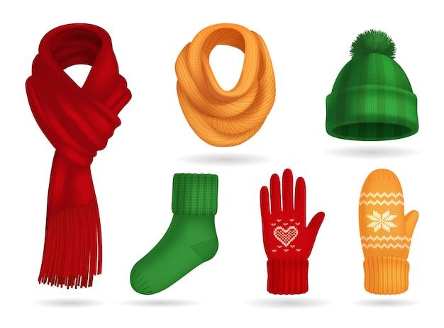 Conjunto de roupas de malha inverno realista com chapéu e luvas isoladas