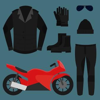 Conjunto de roupas de motociclista, ilustração
