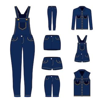 Conjunto de roupas de mulheres denim
