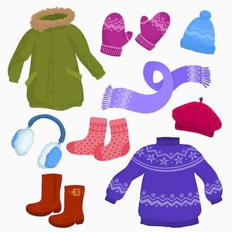 Conjunto de roupas de outono-inverno.