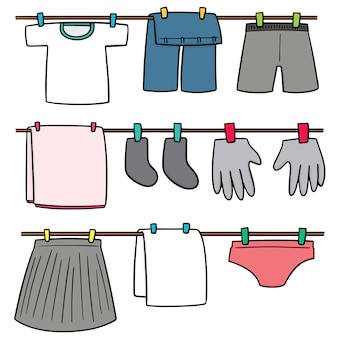 Conjunto de roupas de secagem