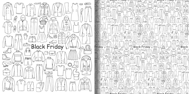 Conjunto de roupas desenhadas à mão black friday e pattren sem costura