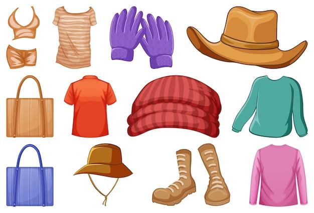 Conjunto de roupas e acessórios da moda em branco