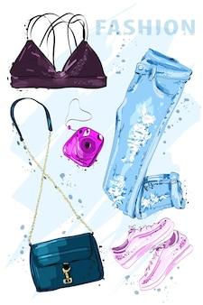 Conjunto de roupas e acessórios da moda mulher
