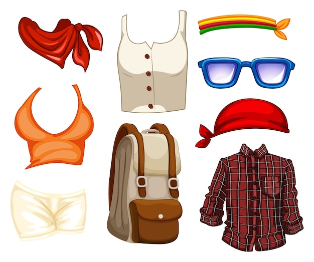 Conjunto de roupas e acessórios da moda