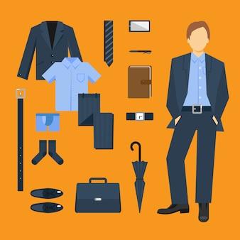 Conjunto de roupas e acessórios de homem de negócios