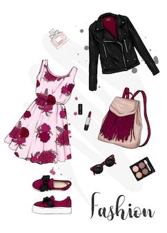 Conjunto de roupas e acessórios femininos elegantes