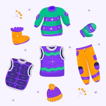 Conjunto de roupas e fundamentos de inverno