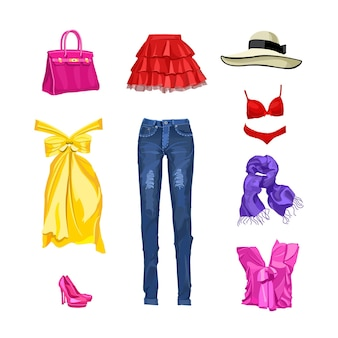 Conjunto de roupas femininas e acessórios