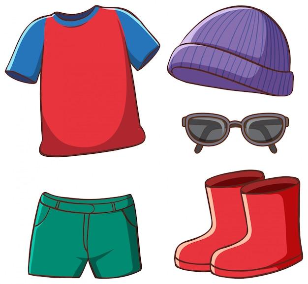 Conjunto de roupas isoladas