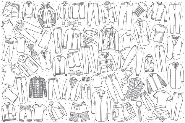 Conjunto de roupas masculinas desenhadas à mão