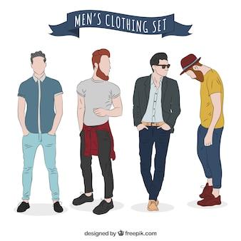 Conjunto de roupas masculinas modernas