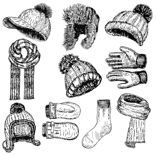 Conjunto de roupas quentes de inverno mão estilo desenhado