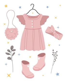Conjunto de roupas rosa e acessórios para crianças