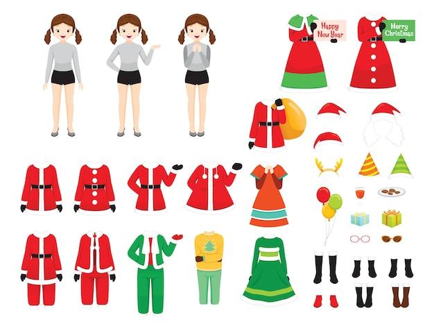 Conjunto de roupas temáticas de natal