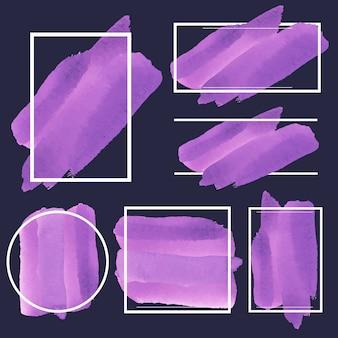 Conjunto de roxo banner aquarela vector design