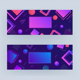 Conjunto de roxo e azul elementos geométricos abstratos banner conjunto