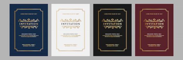 Conjunto de royal e luxo vintage de cartão de convite para modelo de cartão de celebração de festa de aniversário de aniversário de casamento