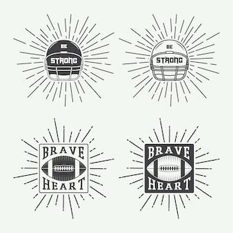 Conjunto de rúgbi vintage e rótulos de futebol americano, emblemas e logotipo. ilustração vetorial