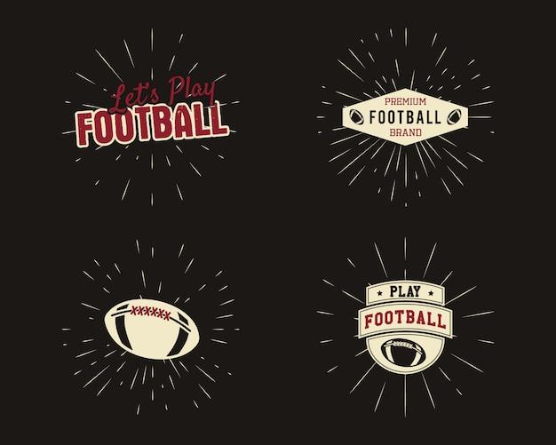 Conjunto de rúgbi vintage e rótulos de futebol americano