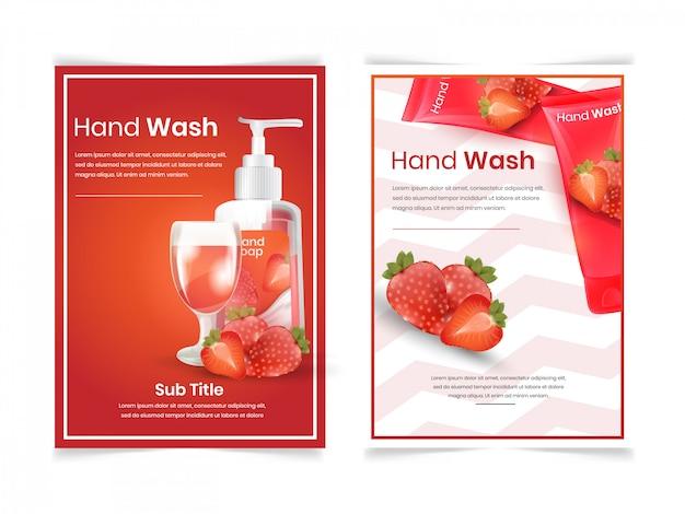 Conjunto de sabonete facial e corporal com aroma de morango