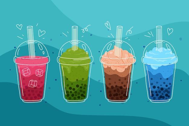 Conjunto de sabores de chá de bolhas de design desenhado à mão